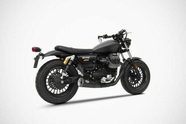 ZARD Edelstahl-Endtopf Moto Guzzi V9 Bobber - Roamer (Euro 4) Short Slip-on 2-2, schwarz (Stück)